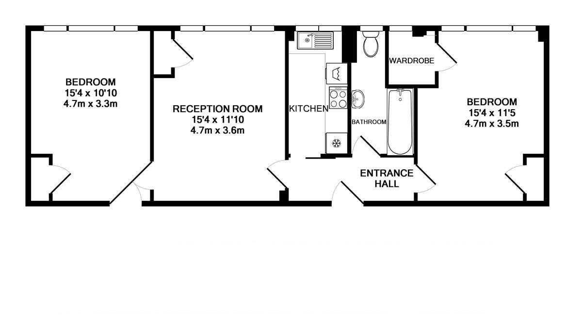 Du Cane Court 2 bedroom floorplan