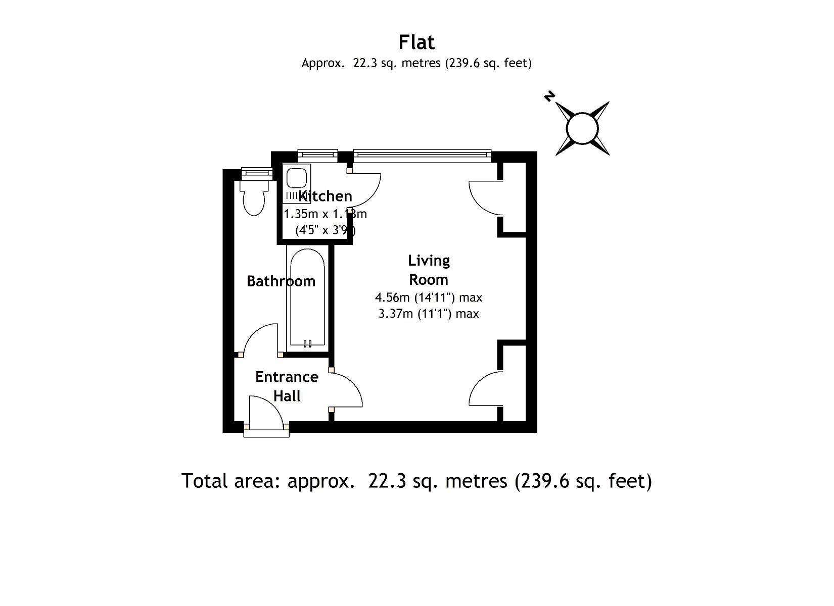 Approx 240 sqft studio flat